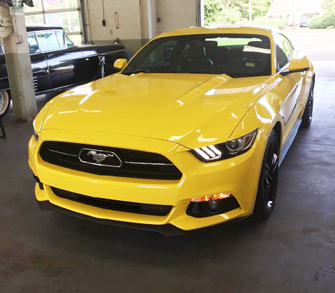 clean yellow mustang car