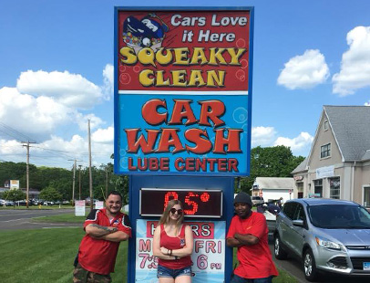 car wash and lube sign in North Branford, CT